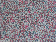 "LIBERTY OF LONDON TANA LAWN FABRIC DESIGN ""Eloise"" 60CM X 130CM  PINKS/TURQUOISE"