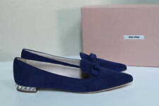 New sz 9 / 39 Miu Miu Crystal Embellished Blue Suede Point toe flats Shoes