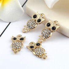 Gold Owl Animals Beads Connector Rhinestones  DIY Bracelet Bangle Findings 10pcs
