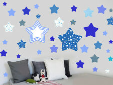 Blue Patterned Stars - Pack of 46 - Wall Vinyl Stickers Childrens Murals Decals