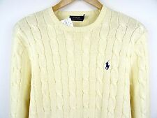 NEW MENS GENUINE RALPH LAUREN COTTON CREW-NECK CABLE JUMPER CREAM XXL RRP £110