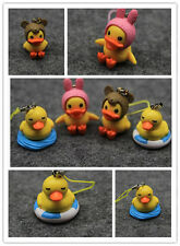 Free shipping 10pcs mix cute Yellow small duck figures mobile phone strap Charms