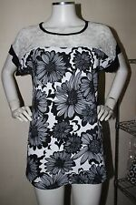 dgoodthings NEW!Lotti lace detailed blouse(XL)black&white floral,black back