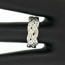 NEW 18k White Gold 0.50ctw Braided Channel Set Round Brilliant Diamond Band Ring