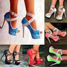 Ladies Floral Lace Platform Shoes Buckle Strap High Heels Peep toe Pumps S30372