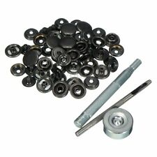 15mm 15 Set Black Snap Fasteners Poppers Press Studs Sewing Leather Kit Buttons