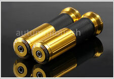 """Gold CNC Motorcycle Scooter 7/8"""" 22mm Handle Bar Hand Grips for kawasaki Triumph"""