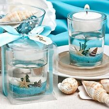 1 Beach Themed Wedding Candle Favor Gel Bridal Shower Favor Ocean Reef Tea Light
