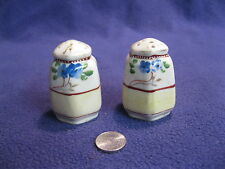 Vintage Hexagon Column Hand Paint Flowers Salt and Pepper Shakers Ceramic     70