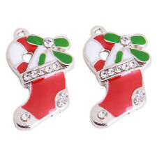 10x New Red Green Enamel Rhinestone Paved Alloy Christmas Boots Charms Pendant C
