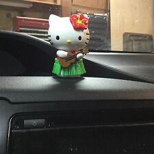 Hello Kitty Car Auto Dashboard Hula Hawaii Dancer w Guitar Ukelele Grass Skirt