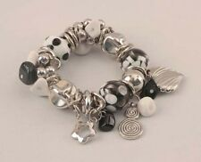 Stretch Bracelet With Black & White Beads Charms VICTORIA LELAND DESIGNS