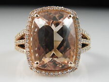 14K Morganite Diamond Halo Ring Rose Gold LALI JEWELS Genuine Fine Jewelry Sz 7
