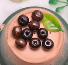 100pcs 8MM coffee Charms Round Wood Spacer Beads Jewelry Making