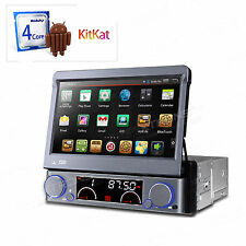 "Quad Core Android 4.4 GPS 1DIN 7"" Car Stereo DVD CD Radio OBD2 Screen Mirroring"