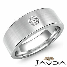 Mens Half Wedding Band 14k White Gold Round Solitaire Diamond 7mm Ring 0.15Ct