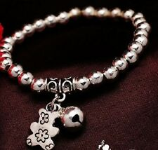 SILVER PLATED BALL BEAD, JINGLE BELL TEDDY BEAR CHARM BRACELET