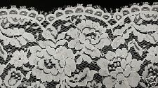"White Flat Stretch Lace Fabric By Yard Floral Wedding 46""- 60"" Prom Table"