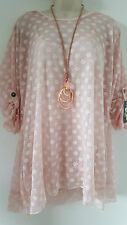 New Italian Lagenlook 2PC Tunic Top Pale Pink Spotty Size 12 14 16 18