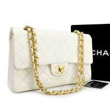 CHANEL Double Flap 25 Quilted CC Logo Lambskin w/Chain Shoulder Bag White / rDAI