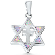 White Opal Star of David with Cross .925 Sterling Silver Pendant