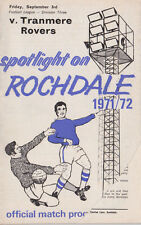 Football Programme ROCHDALE v TRANMERE ROVERS Sept 1971