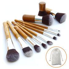 11Pcs Bamboo Handle Cosmetic Makeup Brush Set Foundation Blush Soft Brushes Kit