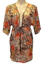 "New ""ROXY"" Ladies Overlay Size 8 Chiffon Floral  Beachwear Swimwear Top Autumn"
