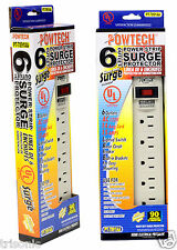 2 x 6 Outlet Power Strip Heavy Duty Surge Protector With Safety Circuit Breaker