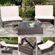 Polyrattan Gartengarnitur 2er Sessel und Tisch Sonnenliege braun Sitzgruppe