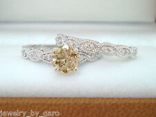 FANCY CHAMPAGNE BROWN DIAMOND ENGAGEMENT RING & WEDDING BAND SETS 14K WHITE GOLD