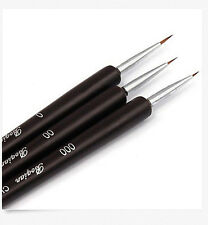 3PCS Nail Art Pen Dotting Painting Drawing UV Gel Liner Polish Brush Tool Set
