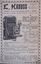 PUBLICITÉ 1902 E.KRAUSS OPTIQUE ET MÉCANIQUE - ZEISS - PROTAR - PLANAR - UNAR