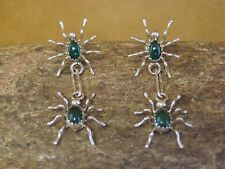 Navajo Indian Sterling Silver Malachite Spider Post Earrings by Mitchell