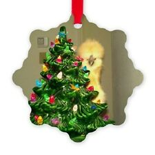 Christmas Ornament ~ Silkie Chicken Hen Peeking Round the Christmas Tree