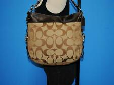 COACH ZOE Brown Signature LARGE Leather Jacquard Hobo Shoulder Purse bag 12674