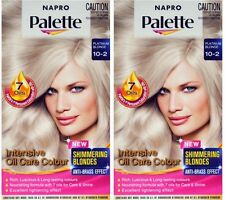 2 x NAPRO PALETTE PERMANENT HAIR COLOUR 10-2 PLATNUM BLONDE 100% Brand New