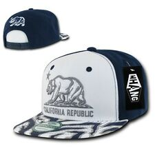White Blue California Republic Cali Zebra Print Flat Snapback Snap Back Cap Hat