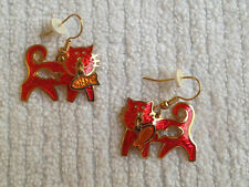 Rare Edgar BEREBI GOLDTONE ARTICULATED ENAMEL Cat & fish Pierced EARRINGS