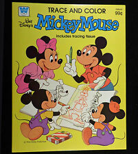 Walt Disney 1981 Whitman MICKEY MOUSE TRACE & COLOR Book, Unused