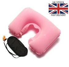 3 in 1 Travel Use Set Inflatable Neck Air Cushion U Pillow Eye Mask 2 Ear Plugs