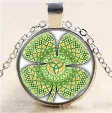 Celtic Four Leaf Photo Cabochon Glass Tibet Silver Chain Pendant Necklace