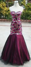 NWT BLUSH PROM $398 Black Berry Prom Evening Gown 6