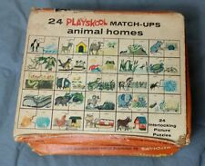 1964 PLAYSKOOL MATCH-UP ANIMAL HOMES PUZZLE BOX IS ROUGH NO LID