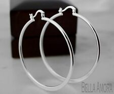 Large 925 Stamped Silver Plated Flat Hoop Earrings - 55mm - New - 46