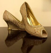 New White & Gold Crystal and Pearl Diament Wedding Heel Wedge Shoes