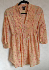 fire los angeles 100% Cotton 3/4 Sleeve Ruffled 6 Button Tunic Size L