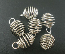 100Pcs Silver Tone Spring Spiral Bead Cages Pendants Jewelry Diy Making Findings