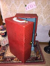 Vintage red textured doll trunk