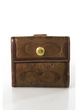 Coach Brown Leather Gold Tone Embossed Stitched Signature Bi Fold Wallet
